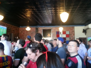 Mes Que was packed for soccer action yesterday!