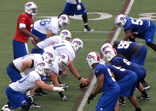 Bills lining up at training camp. Photo via www.billszone.com