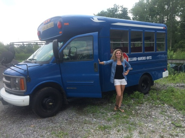 Joe's sister Zina standing by what could be the Buffalo Blue Balls Bus!!!!!