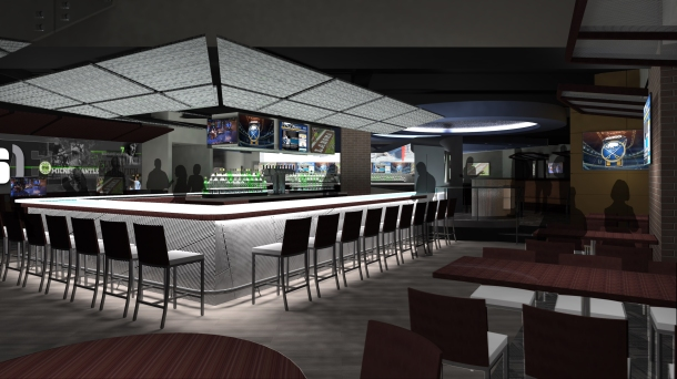 Drawing of the first floor bar. - Photo via http://www.harborcenter.com/716foodandsport/photos/
