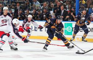 Zee slices through Columbus on his way to the Sabres' first goal of the season.  This is the second consecutive season he hass scored the team's first goal.