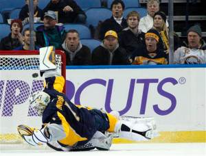 Entroth has been great, channeling Hasek for this save – Photo from mclatchyinteractive.com