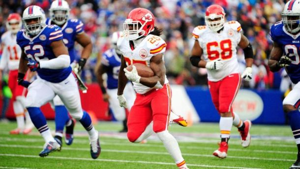 Jamal Charles rushes for what would be the game winning touchdown. - Photo via www.foxnews.com