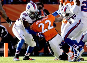 The Bills D held Peyton Manning to under 200 yards but C.J Anderson hurt them with 3 TD's - Photo via photos.syracuse.com