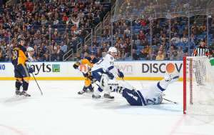 Despite Nabokov's acrobatics, the Lightning were no match for the Z-Train. Photo from nhl.com