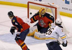 Luongo would make the save here, but the Sabres would break his shutout streak of over 10 periods. Photo from miamiherald.com