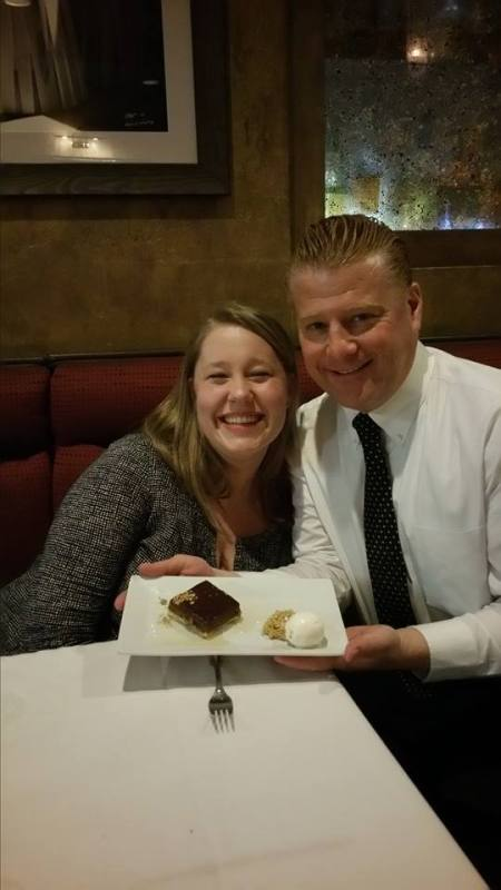 My wife and our fabulous waiter Jake with the dessert, The Whiskey Caramel Tart.
