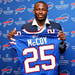 LeSean McCoy shows off his Bills jersey! - Photo via Kevin Hoffman/USA TODAY Sports