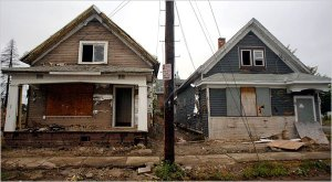 Vacant homes blight a large portion of the East Side - Photo via nytimes.com