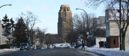 While it sits at the heart of the parade, Paderewski Dr has seen better days, with almost half the homes vacant, and in serious disrepair. - Photo via www.forgottenbuffalo.com