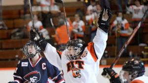 Another goal for the RIT captain.  Photo from brantfordexpositor.ca