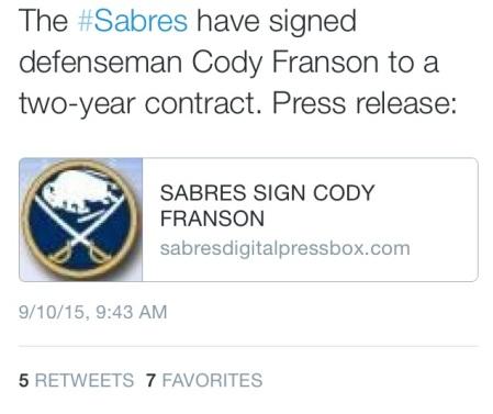 Tweet from @SabresPR